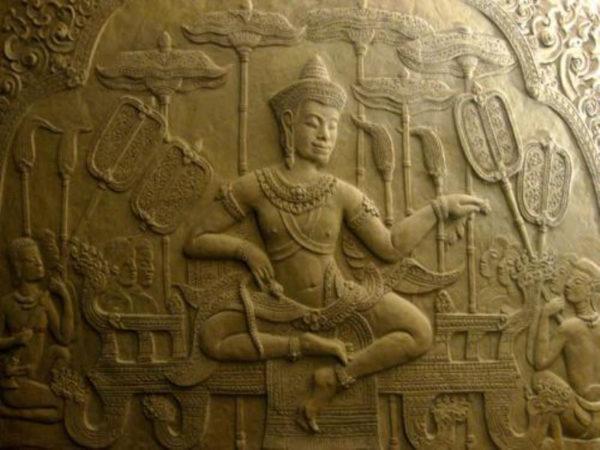 Relief King Of Angkor 1 Teilig Sandsteinoptik